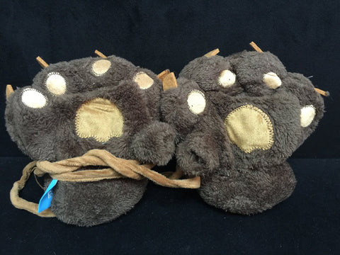 Dark Brown Cat Cosplay Furry Soft Plush Costume Mitts Hands Gloves Paws