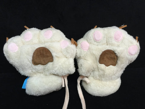White Cat Cosplay Furry Soft Plush Costume Mitts Hands Gloves Paws
