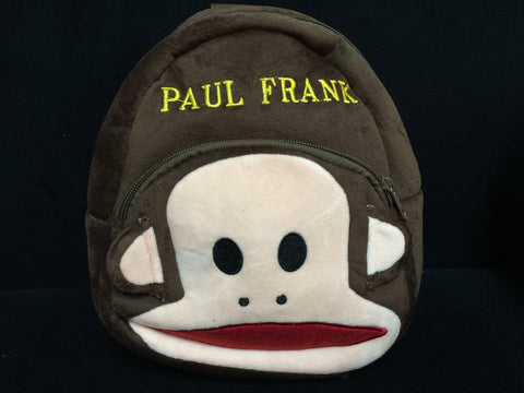 Brown Monkey Paul Frank Plush HandBag Backpack Bag School Bag Travel Bag