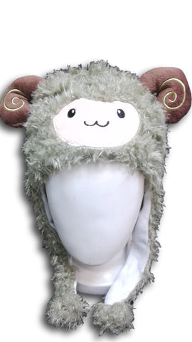Alpaca Llama Cute Kawaii Anime Hat Rave Beanie Cap Furry Plush Cosplay Hat Green