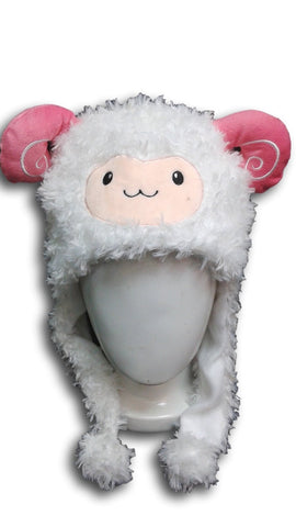 Alpaca Llama Cute Kawaii Anime Hat Rave Beanie Cap Furry Plush Cosplay Hat WHITE
