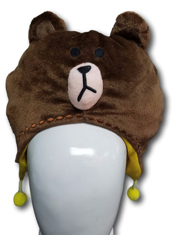 New Cute Line Apps Character Bear Big BROWN Soft Plushy Warm Cosplay Hat Earmuff
