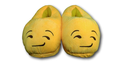 Smirking Unisex Emoji Plush Home Indoor Pair Slippers Soft Comfy Shoes