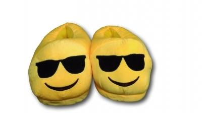 Sunglasses Unisex Emoji Plush Home Indoor Pair Slippers Soft Comfy Shoes