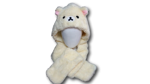 White Rilakkuma Bear Cosplay Furry Soft Plush Hat Cap Hat Earmuff Scarf Gloves 4in1