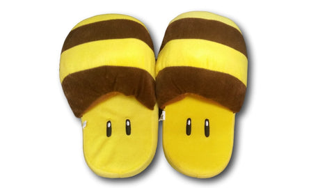 Nintendo Super Mario BEE Plush Slippers Shoes Yellow Household