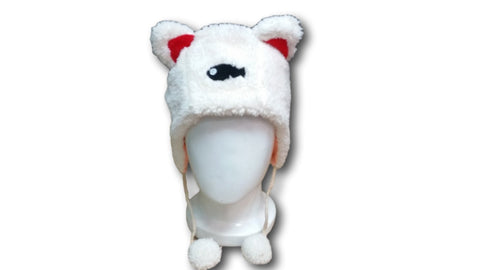 Cute Cat With Red Ears And Black Fish Winter Warm White Hat