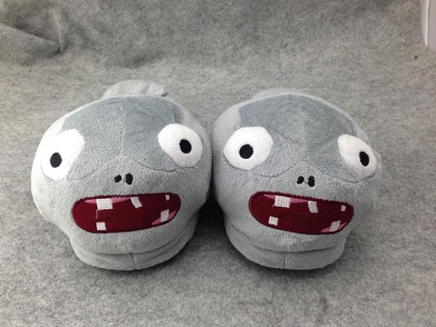 "Plants and Zombies Cosplay Adult Plush Rave Shoes Slippers 11"" Zombies"
