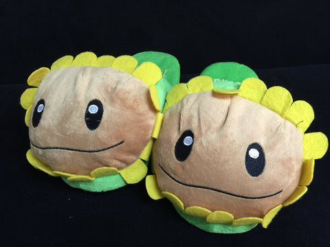 "Plants and Zombies Cosplay Adult Plush Rave Shoes Slippers 11"" Sun Flower"