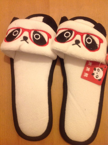 China Panda with Glass  Kawaii Cuite Cosplay Adult Plush Rave Shoes Doll Slippers Lady Styles