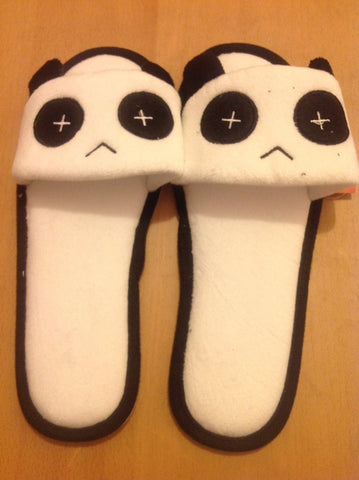 China Panda Kawaii Cuite Cosplay Adult Plush Rave Shoes Doll Slippers Lady Styles