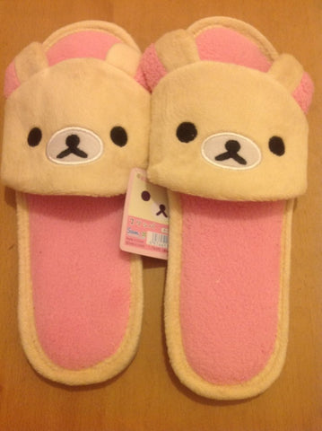 WHITE Rilakkuma Bear  Kawaii Cuite Cosplay Adult Plush Rave Shoes Doll Slippers Lady Styles