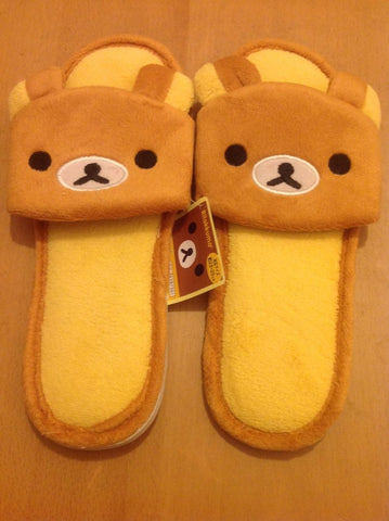 Brown Rilakkuma Bear  Kawaii Cuite Cosplay Adult Plush Rave Shoes Doll Slippers Lady Styles