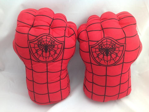 Set of 2pcs SuperHero SpiderMan Hands Plush Gloves Set Punching Boxing Type Fist
