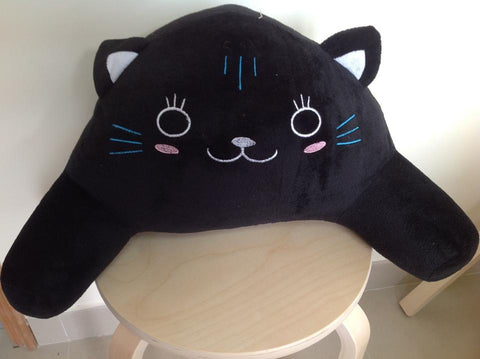 Cute Anime Animal Comfortable Waist Pillow Pad Seat Black Plush Cat Back Cushion