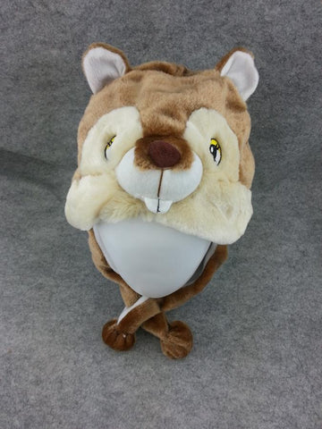 Cute Kawaii Anime Animal Cosplay Soft Brown&White Fluffy Plush Warm Squirrel Hat