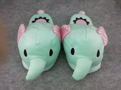 "Animal Elephant Cute Kawaii Cosplay Adult Women Plush Rave Shoes Slippers 10""-T1"