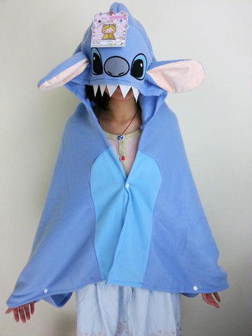 Cute Kawaii Lilo&Stitch Soft Comfortable plush Costume Cloak Shawl Cape Wrap-T4