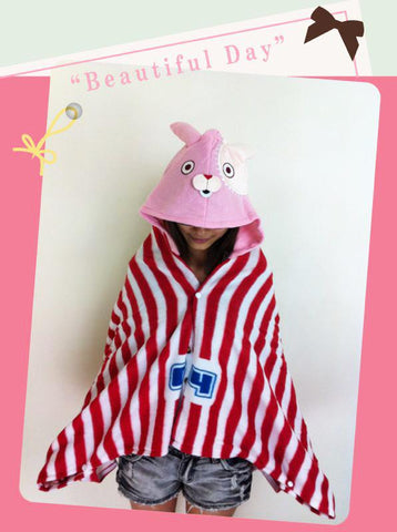 Cute Kawaii Prison Rabbit Soft Comfortable plush Costume Cloak Shawl Cape Wrap-T5