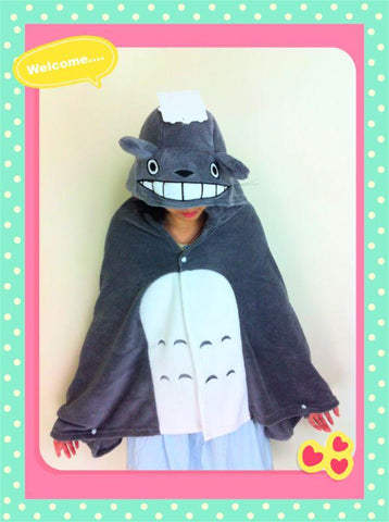 Cute Kawaii Totoro Ghibli Soft Comfortable plush Costume Cloak Shawl Cape Wrap-T7