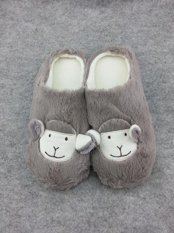 "Cute Kawaii Furry Plush Cosplay Adult Gray llama Alpaca Shoes Slippers 10""-T1"