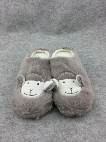 "Cute Kawaii Furry Plush Cosplay Adult Gray llama Alpaca Shoes Slippers 11""-T2"