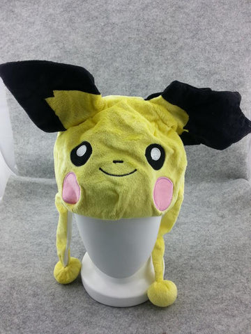 Pokemon Pikachu Cute Kawaii Hat Rave Beanie Cap Furry Plush Cosplay Big Ears Hat