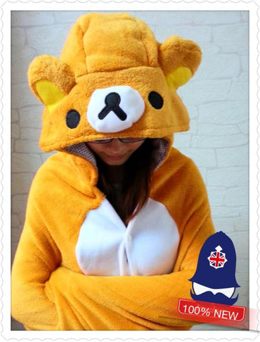 Cute Brown Rilakkuma Bear Soft Comfortable plush Costume Cloak Shawl Cape WrapT8