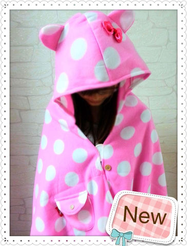 Cute Pink Polka Dot style Soft Comfortable plush Costume Cloak Shawl Cape WrapT9