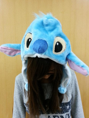 Cute Kawaii Anime Hat Rave Beanie Cap Furry Plush Cosplay Lilo and Stitch T3