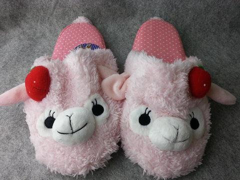 "Cute Kawaii Furry Plush Cosplay Adult Pink llama Alpaca Shoes Slippers 10"" -T3"
