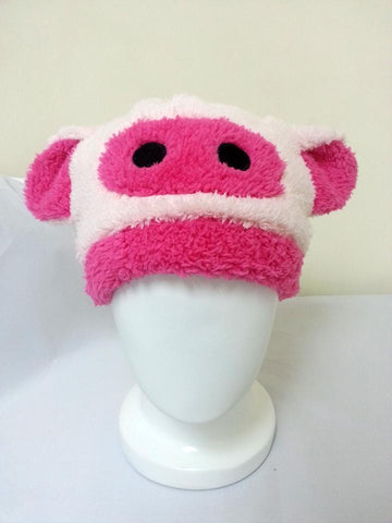 Cute Kawaii Anime Animal Hat Rave Beanie Cap Furry Plush Cosplay Pinky Pig T2