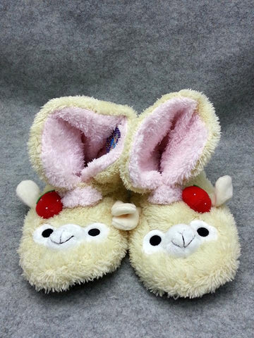 Cute Kawaii Furry Plush Cosplay Adult beige llama Alpaca Boot Shoes Slippers 10""