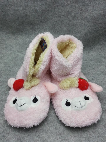 Cute Kawaii Furry Plush Cosplay Adult Pink llama Alpaca Boot Shoes Slippers 10""