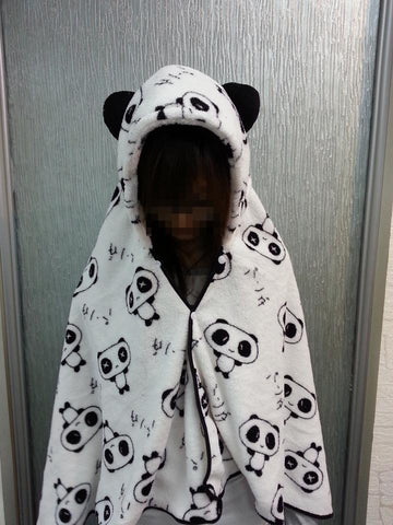 Cute Panda Pattern Soft Comfortable plush Costume Cloak Shawl Cape Wrap-T14