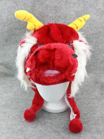 Cute Chinese Legend Animal Red Dragon Cosplay Costume Soft Warm Lucky Hat