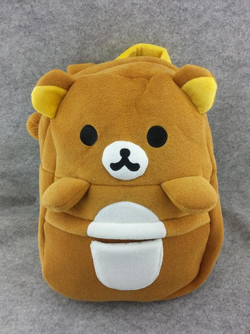 Rilakkuma Brown Bear Cute Soft Furry Plush HandBag Backpack Bag School Bag Travel Bag