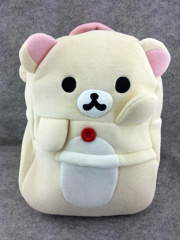 Rilakkuma White Bear Cute Soft Furry Plush HandBag Backpack Bag School Bag Travel Bag