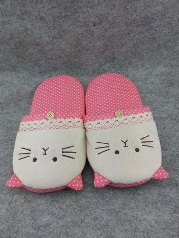 Pink Dot Pattern Kawaii Cosplay Adult Plush Rave Cat Shoes Doll Slippers 11""