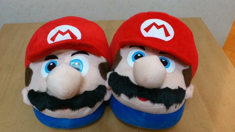 Super Mario Bros Soft Plush Furry Slippers Mario 11""