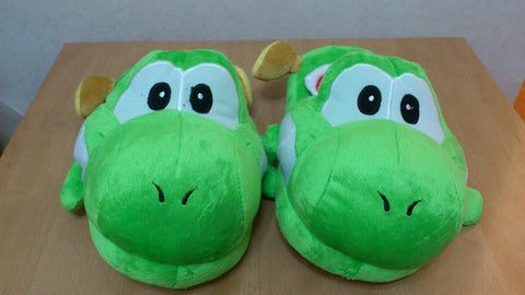 Super Mario Bros Soft Plush Furry Slippers Yoshi 11""