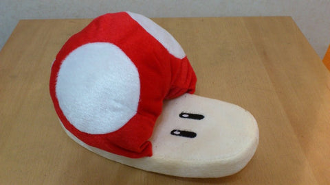 Super Mario Bros Soft Plush Furry Slippers Mushroom 11""