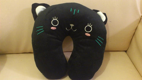 Black Cat Kawaii Anime Animal Beanie travel rest Relax Neck Cushion Furry Plush