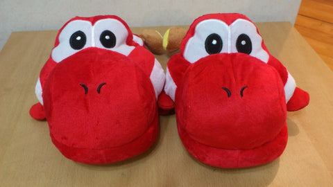 Super Mario Bros Red Yushi Cosplay Adult Plush Rave Shoes Slippers 11""