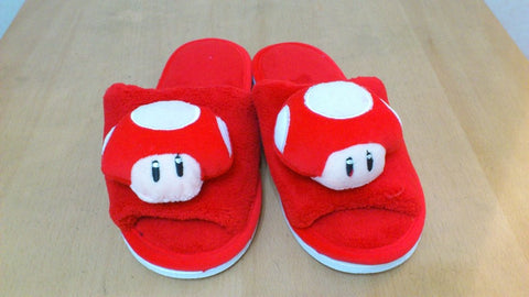 Super Mario Bros Mushroom Cosplay Adult Women Plush Rave Shoes Slippers 10""