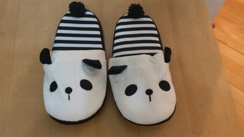 Panda Cosplay Adult Women Plush Rave Shoes Slippers 10""