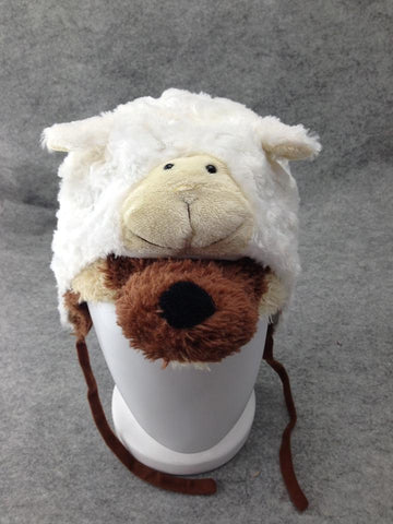 Cute Anime Animal Hat Rave Beanie Cap Furry Plush Cosplay 2in1 Wolf n Sheep Hat