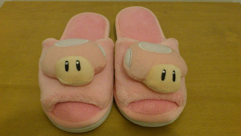 Super Mario Bros Pink Mushroom Cosplay Adult Women Plush Rave Shoes Slippers 10""