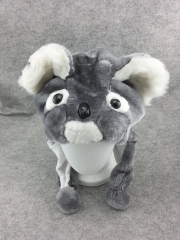 Cute Kawaii Anime Animal Hat Rave Beanie Cap Furry Plush Cosplay Silver Koala