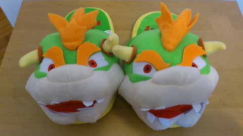 Super Mario Bros Soft Plush Furry Slippers Bowser 11""